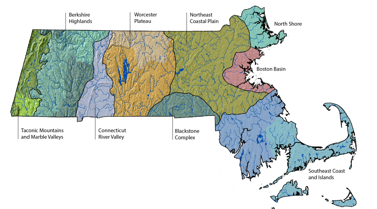 Nine principal ecological zones within Massachusetts.